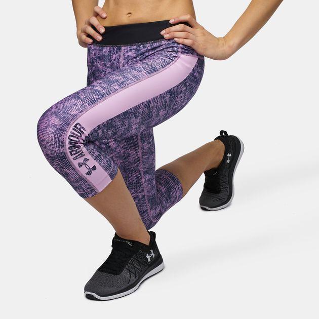 282dad5d9f39fc Shop Purple Under Armour HeatGear Printed Capri Leggings for Womens ...
