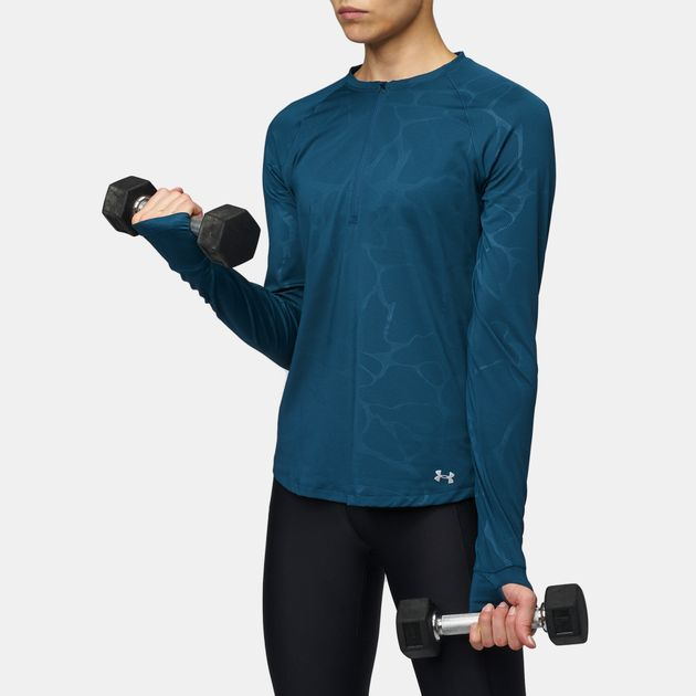 Shop Blue Under Armour Fly By 1 2 Zip Long Sleeve Running T-Shirt ... d55332ceb2
