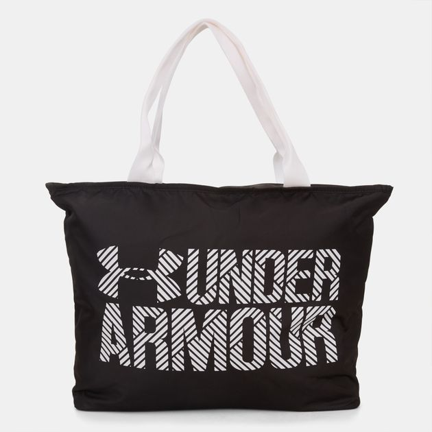 Shop Black Under Armour Big Wordmark Tote 2.0 Bag for Womens by ... 2ba39454c35bf