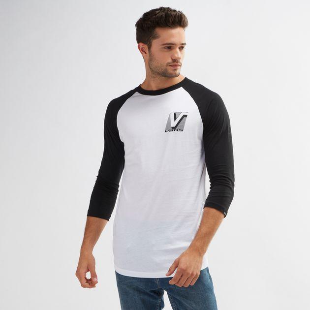 dcc0f8f9b8c664 Shop White Vans Grand Raglan 3 4 Sleeved T-Shirt for Mens by Vans