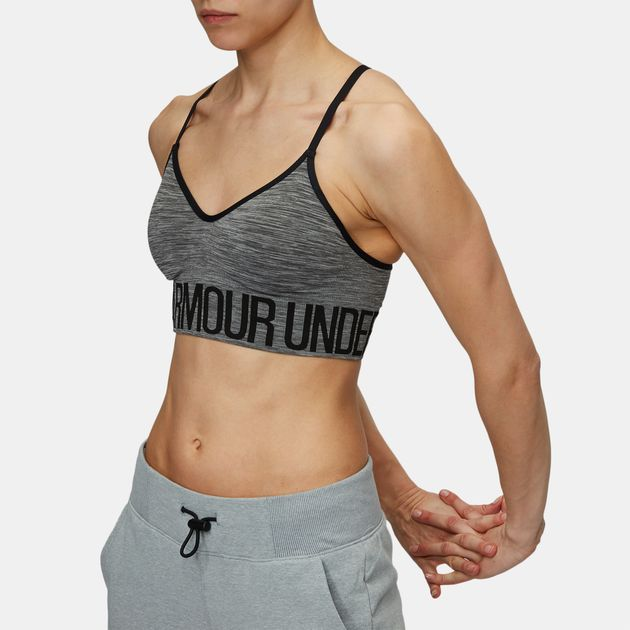 d8c359d34ab6d Shop Grey Under Armour Seamless Streaky Heather Sports Bra for ...