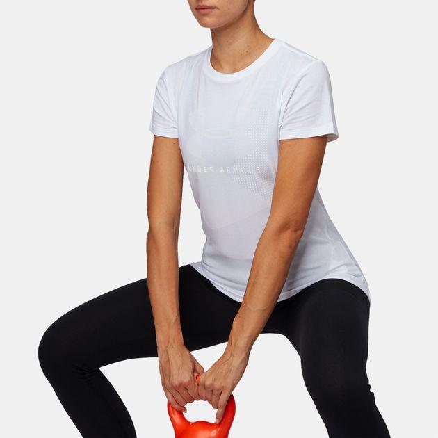 eada7b5f Shop White Under Armour Sportstyle Mesh Logo Crew T-Shirt for Womens ...