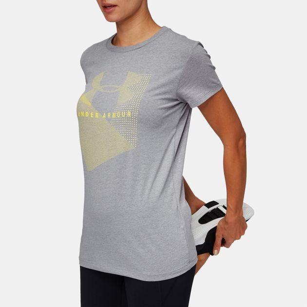 d7cf9c5c Shop Grey Under Armour Sportstyle Mesh Logo Crew T-Shirt for Womens ...