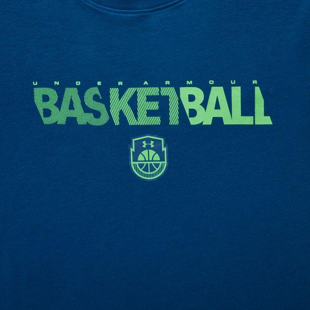 61f231e9e Shop Blue Under Armour Kids' Vertical Logo T-Shirt for Kids by Under ...