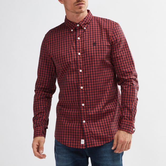 Timberland Suncook River Slim Fit Gingham Long Sleeve Shirt