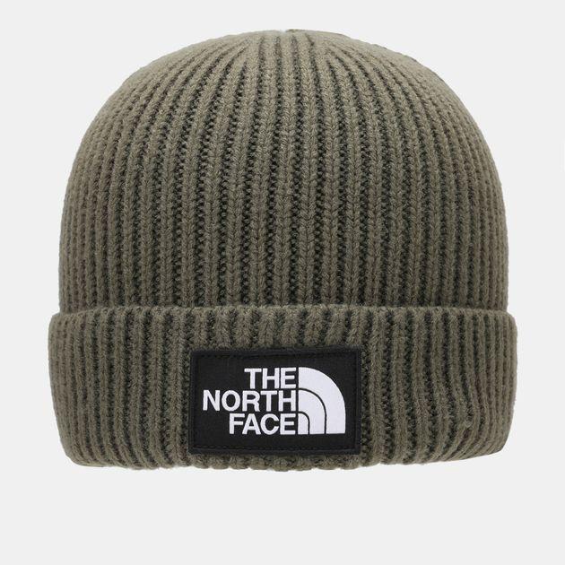 6d080269b80d71 Shop Green The North Face Logo Boxed Cuffed Beanie   Beanies   Caps ...