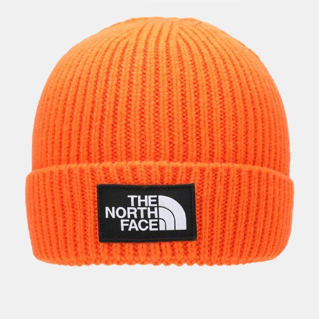 4efdc628 Shop Orange The North Face Logo Boxed Cuffed Beanie | Beanies | Caps ...