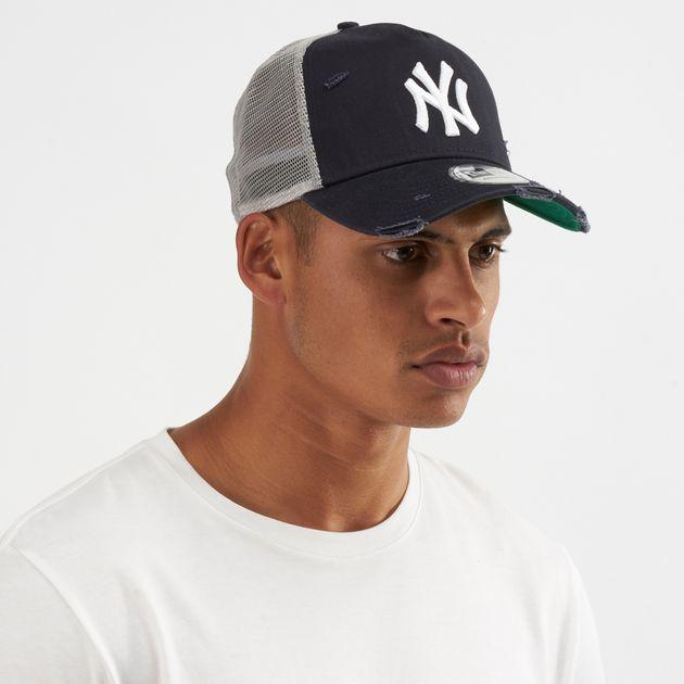 c9e18005592 New Era MLB New York Yankees Distressed A-Frame 9FORTY Trucker Cap - Blue