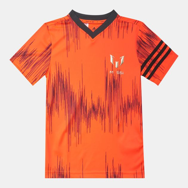 30944399593 Shop Orange adidas Kids' Messi Allover Print T-Shirt for Kids by ...