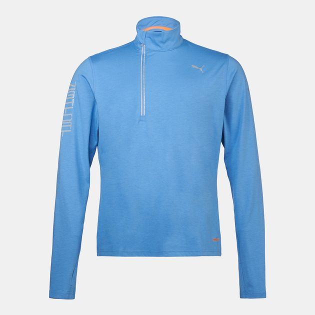 e490dee19dc8 Shop Blue PUMA Running NightCat PWRWARM Long Sleeve T-Shirt for Mens ...