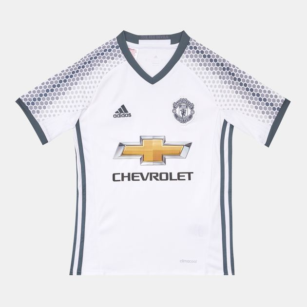 new product 9daf1 dee95 Shop White adidas Kids' Manchester United FC Replica Third ...