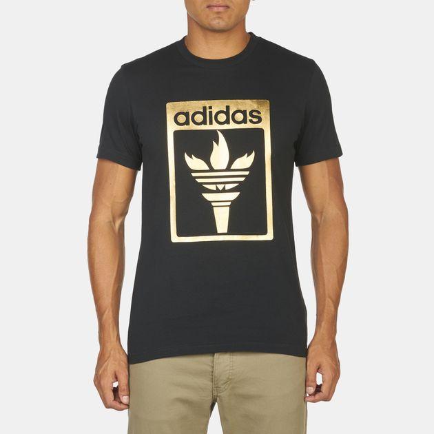 1495e13b1882d9 Shop Black adidas Originals Trefoil Fire T-Shirt for Mens by adidas ...