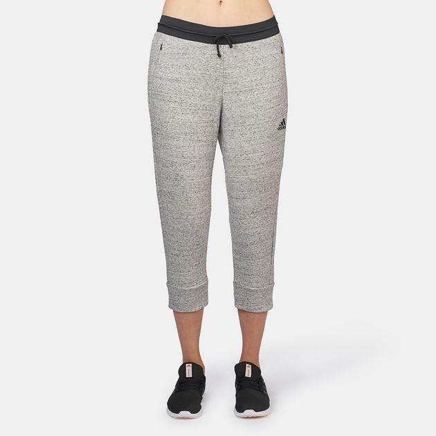 3198d4470cb Shop Grey adidas Cotton Fleece Three-Quarter Capri Leggings for ...