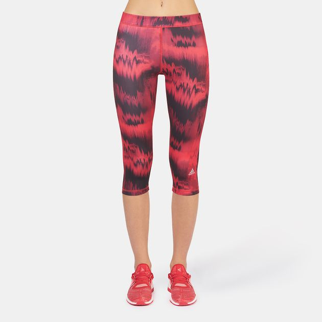 d7045bec4540 Shop Red adidas Techfit Graphic Print Capri Leggings for Womens by ...