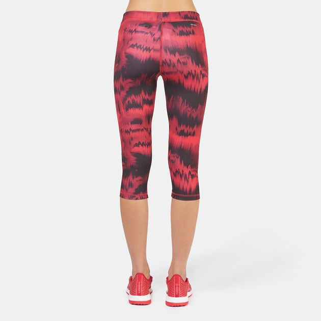 8463bdb64c00a Shop Red adidas Techfit Graphic Print Capri Leggings for Womens by ...