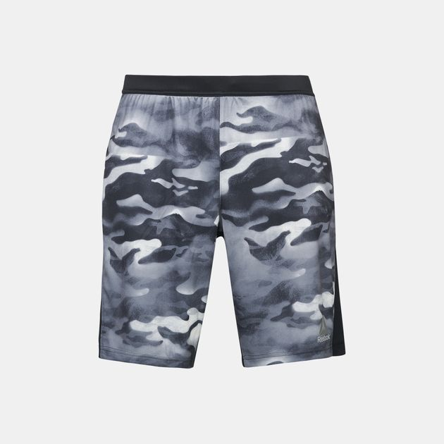 9a8297388 Shop Black Reebok Spray Camo Knit Force Shorts for Mens by Reebok | SSS