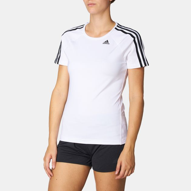 faf4c97786eecc Shop White adidas D2M 3-Stripes T-Shirt for Womens by adidas