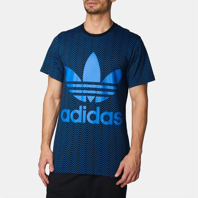 db2bb447da786 Shop Black adidas Originals NYC Herringbone Print T-Shirt for Mens ...