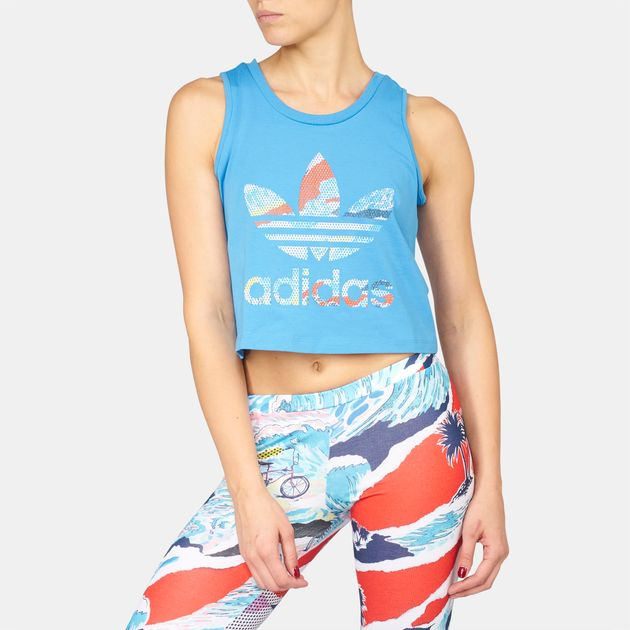 585dd1eae87 Shop Blue adidas Originals Loose Crop Tank Top for Womens by adidas ...