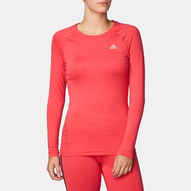 7d32d902685b3 Shop Pink adidas Techfit Long Sleeve T-Shirt for Womens by adidas | SSS
