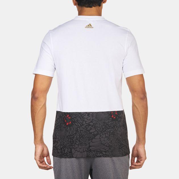 b14222f692f Shop White adidas Damian Lillard Chinese New Year Basketball T-Shirt ...