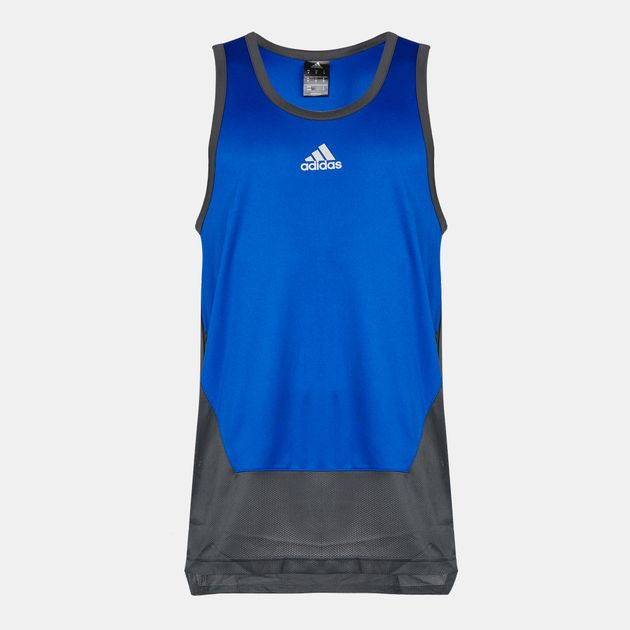 Shop Blue adidas climalite® Basketball Tank Top for Mens by