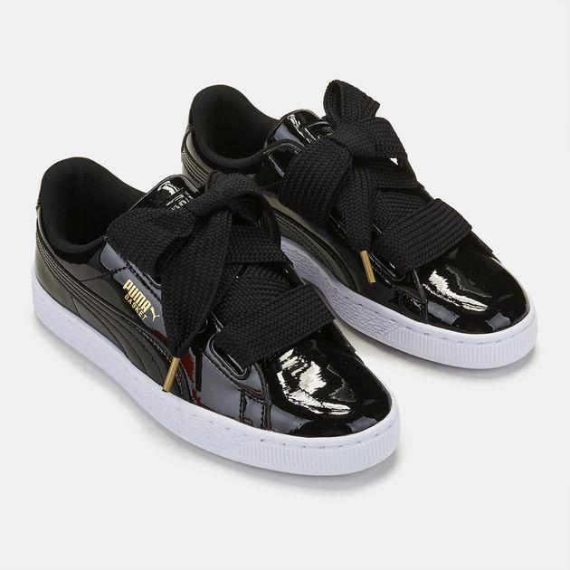 brand new 76c4c 14478 Shop Black PUMA Basket Heart Patent Shoe for Womens by PUMA ...