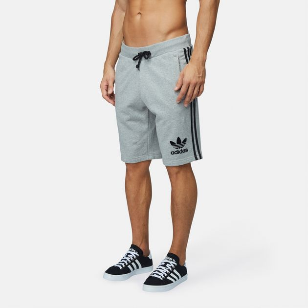 Shop Grey adidas Originals 3 Stripes French Terry Shorts for
