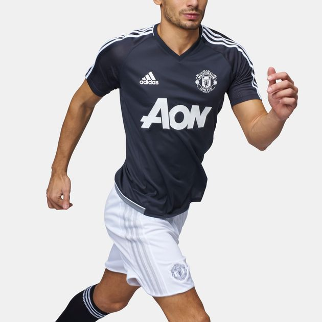 outlet store 65033 8aaf0 Shop Grey adidas Manchester United Training Jersey for Mens ...
