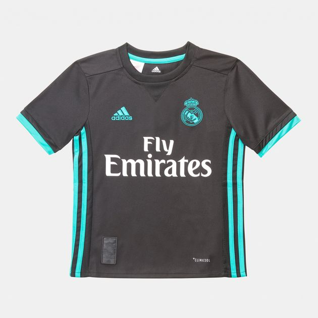 uk availability 865fa ec8af Shop Black adidas Real Madrid Away Replica Jersey for Kids ...