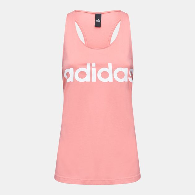 Shop Pink adidas Essentials Linear Slim Tank Top for Womens by ... b214e8603df53