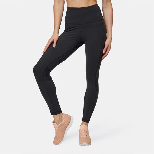 16dc5bce459ec Shop Black Reebok High-Waisted Mesh Leggings for Womens by Reebok | SSS