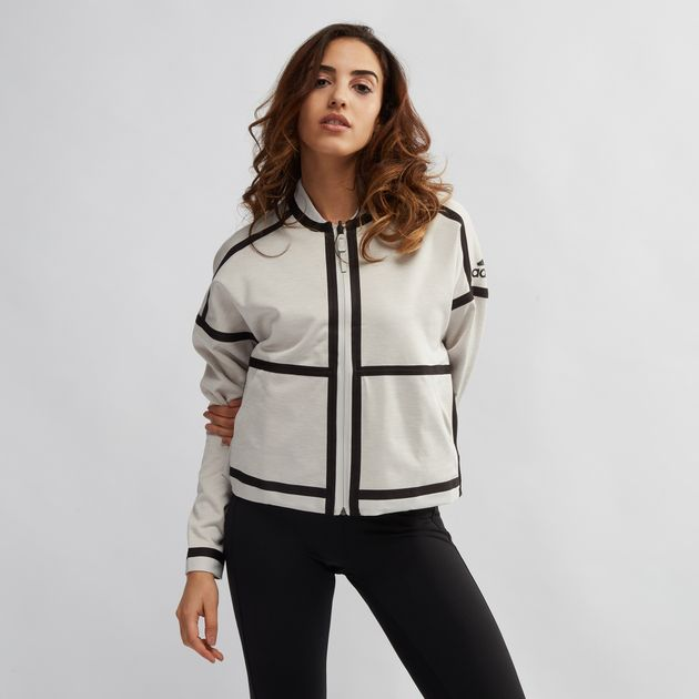 1e9adf278 Shop White adidas Z.N.E. Reversible Bomber Jacket for Womens by ...