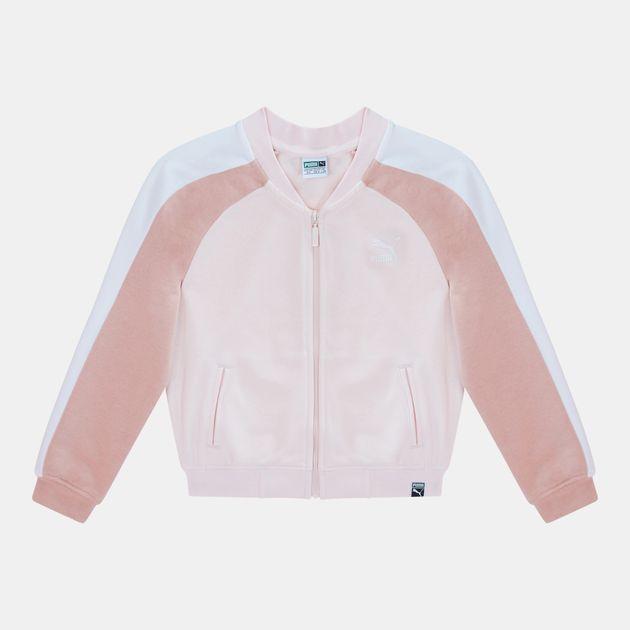 a55238e2e248 Shop White PUMA Kids  Classics T7 FZ Jacket for Kids by PUMA