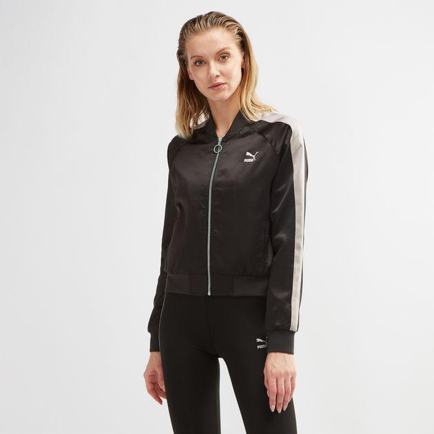 98d62db1fc12 Shop Black PUMA En Pointe Satin T7 Jacket for Womens by PUMA