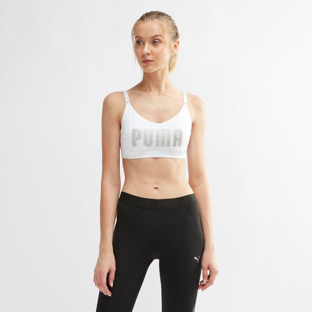 f49088febb073 Shop White PUMA En Pointe Logo Sports Bra for Womens by PUMA