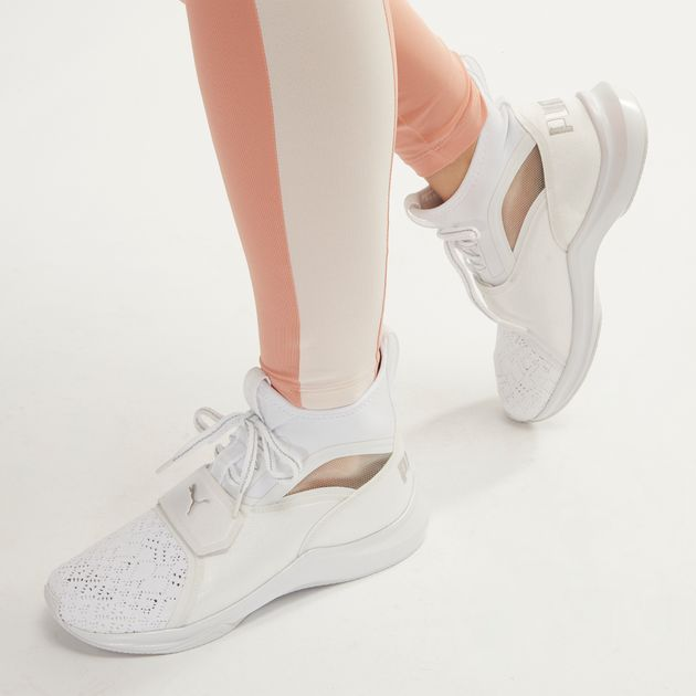 Shop White PUMA En Pointe Satin Phenom Training Shoe for Womens by ... 141d5b775