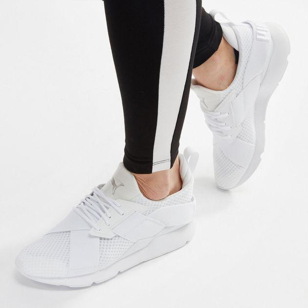 06fd0877886e07 Shop White PUMA En Pointe Muse Satin Training Shoe for Womens by ...