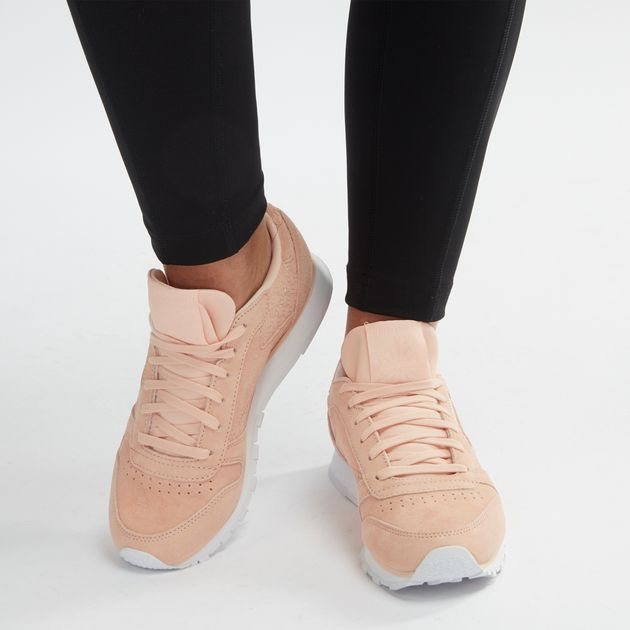f659f5b2c8d Shop Pink Reebok Classic Leather Woven EMB Shoe for Womens by Reebok ...