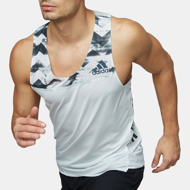 2a205f278ee Shop White adidas Adizero Running Tank Top for Mens by adidas | SSS