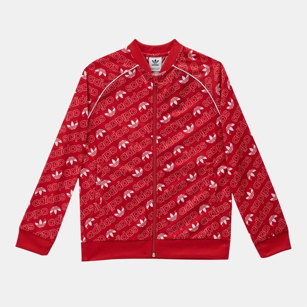 Shop Red adidas Originals Kids  Trefoil Monogram SST Track Jacket ... 4abef78f45