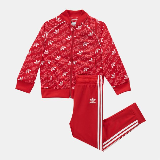c1c38913ab81 Shop Red adidas Originals Kids  Monogram Trefoil SST Tracksuit ...