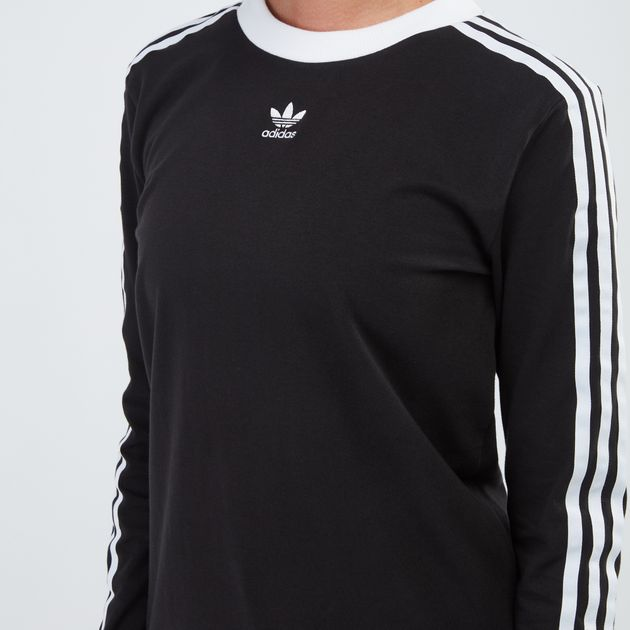 adidas Originals 3 Stripes Long Sleeve Top Black
