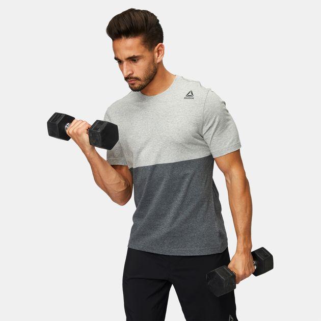 032a3745fff49 Shop Grey Reebok Elements Yarn Dye T-Shirt for Mens by Reebok