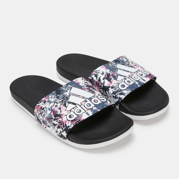 2143450c688eed Shop White adidas Adilette Cloudfoam Plus Stripes Slides