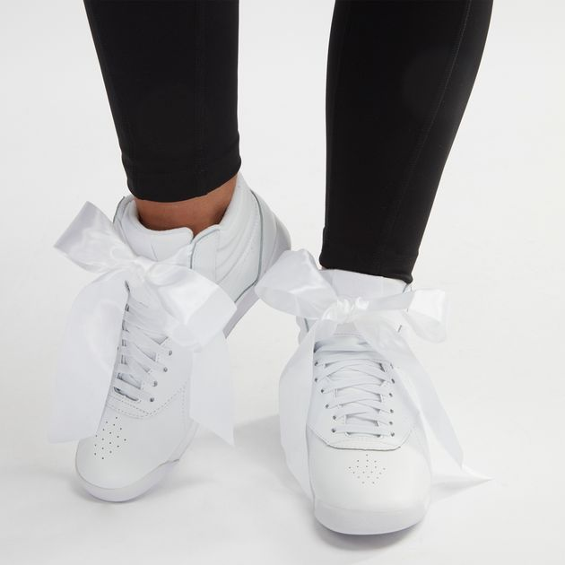 10209ae6cb8 Shop White Reebok Freestyle High-Top Satin Bow Shoe for Womens by ...