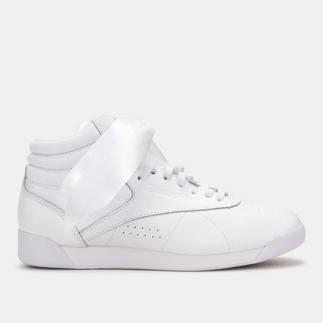 593431f372899 Shop White Reebok Freestyle High-Top Satin Bow Shoe for Womens by ...
