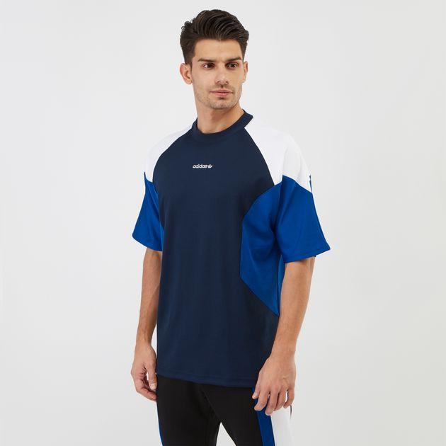 980b63ae9ed Shop Blue adidas Originals EQT Curve Block T-Shirt