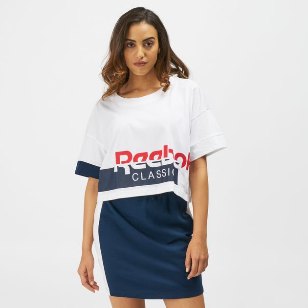 32b4c1e3f5d4e Shop White Reebok Classics Disruptive Cropped T-Shirt