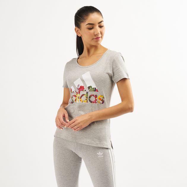 dc65f0d9f932 Adidas WoMen's Badge Of Sport Flower T-Shirt   T-Shirts   Tops ...